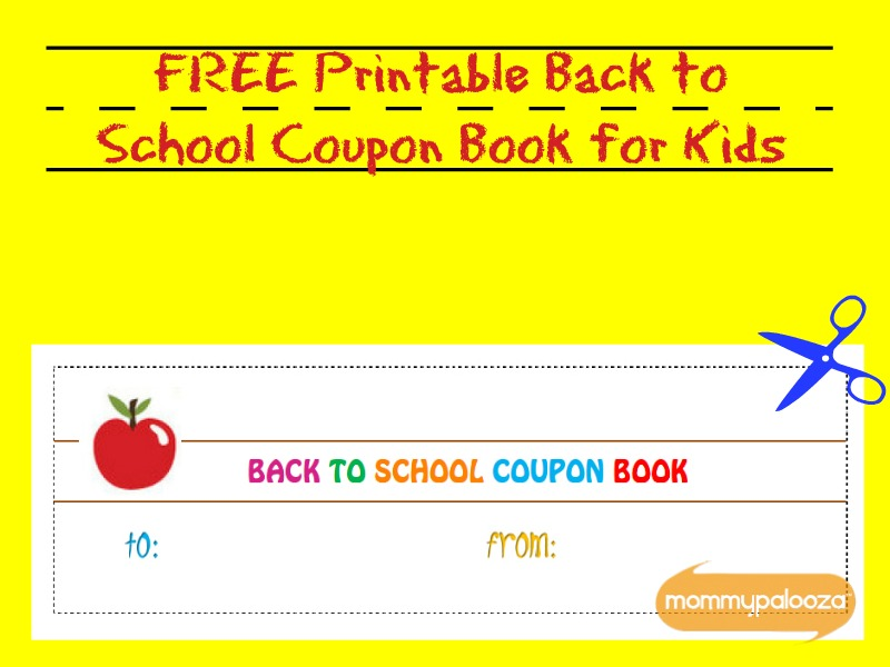 Free Printable Back to School Coupon Book for Kids