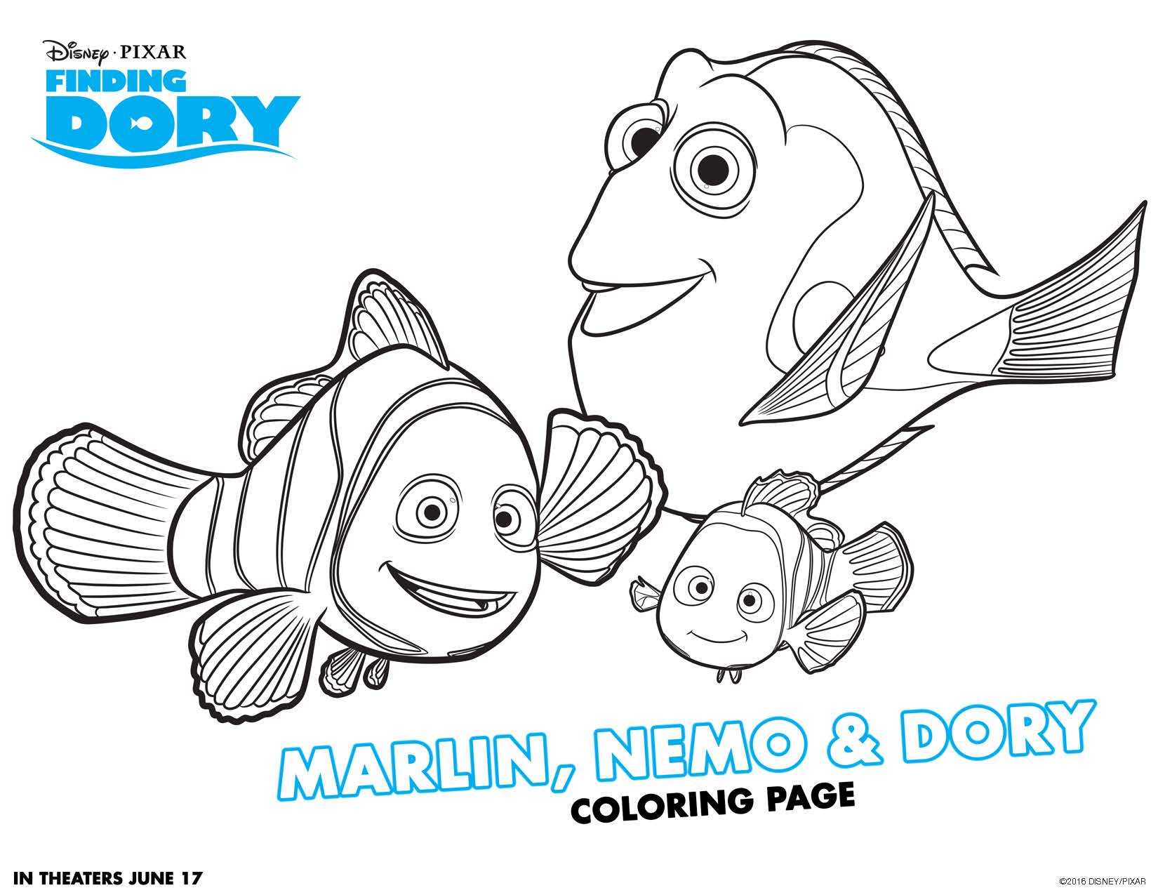 Finding Dory movie printable coloring page activity for kids. This is so cute! Great for getting ready for the movie to come out this summer!