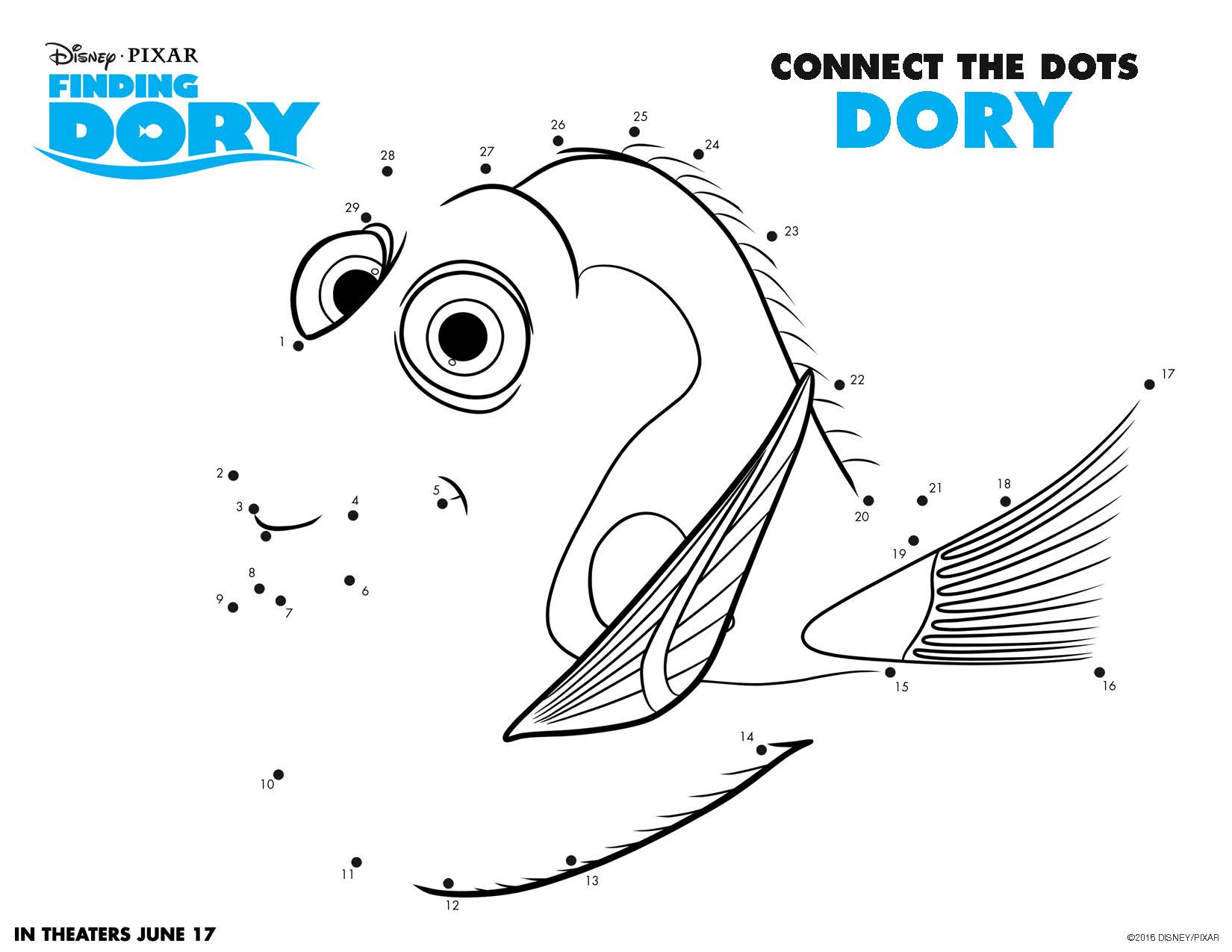 finding dory movie printable connect the dots printable activity sheet for kids