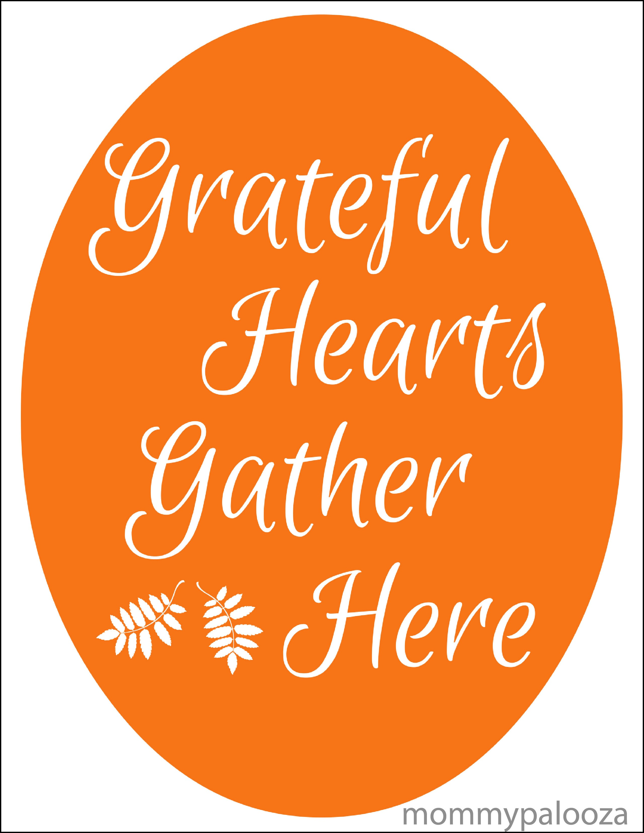 Grateful Hearts Thanksgiving Day Printable Quote | Mommypalooza.com