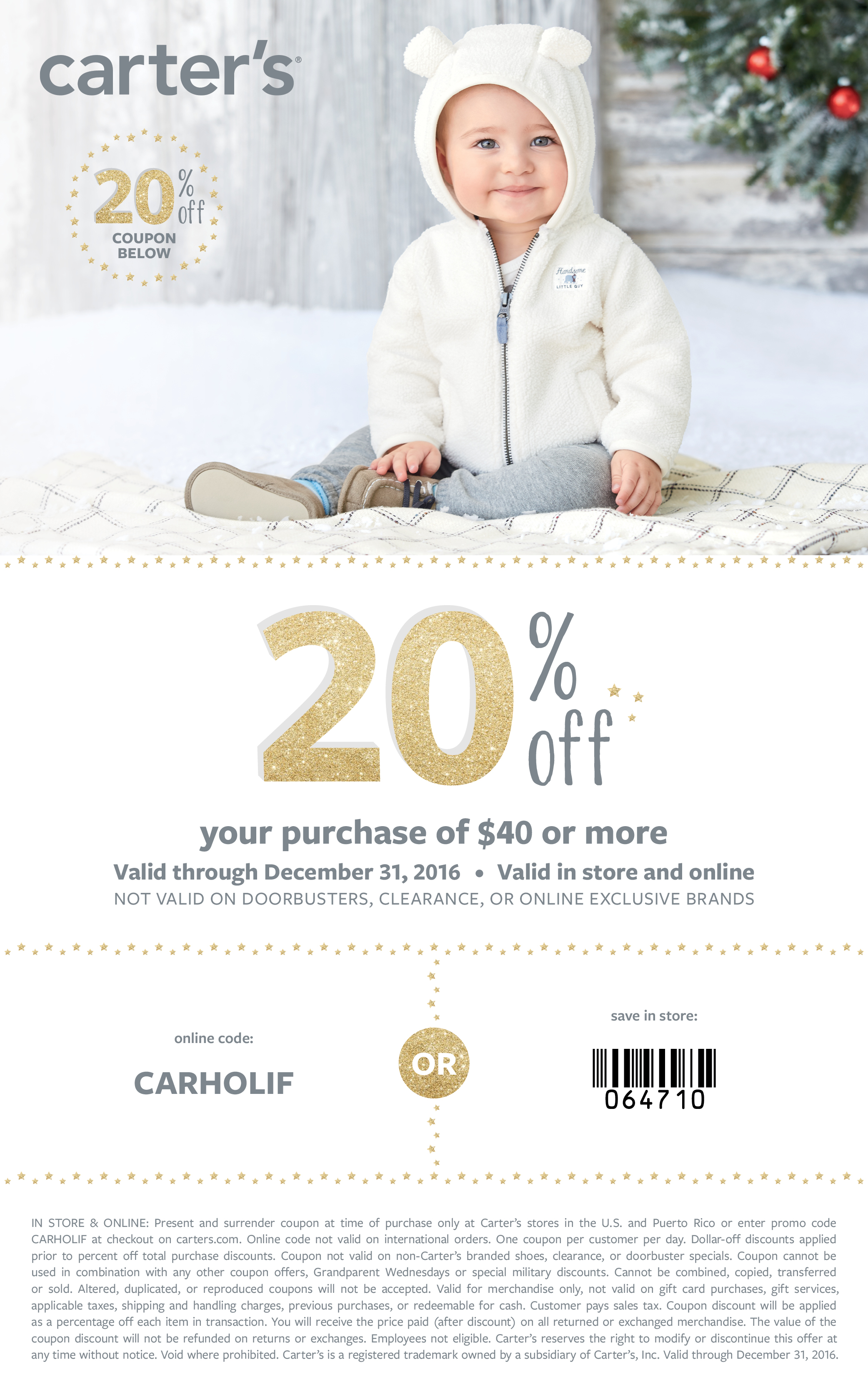 Carter's 20% off printable coupon for holiday shopping