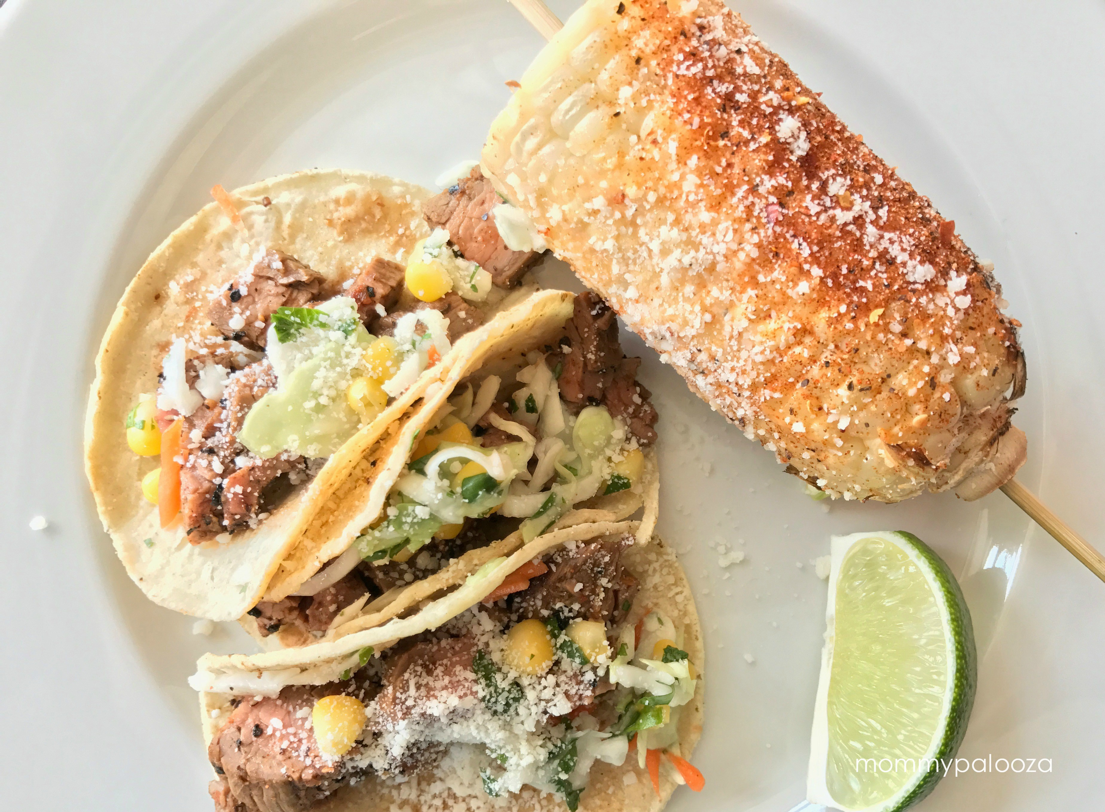 Mexican Street Corn with Flank Steak Tacos