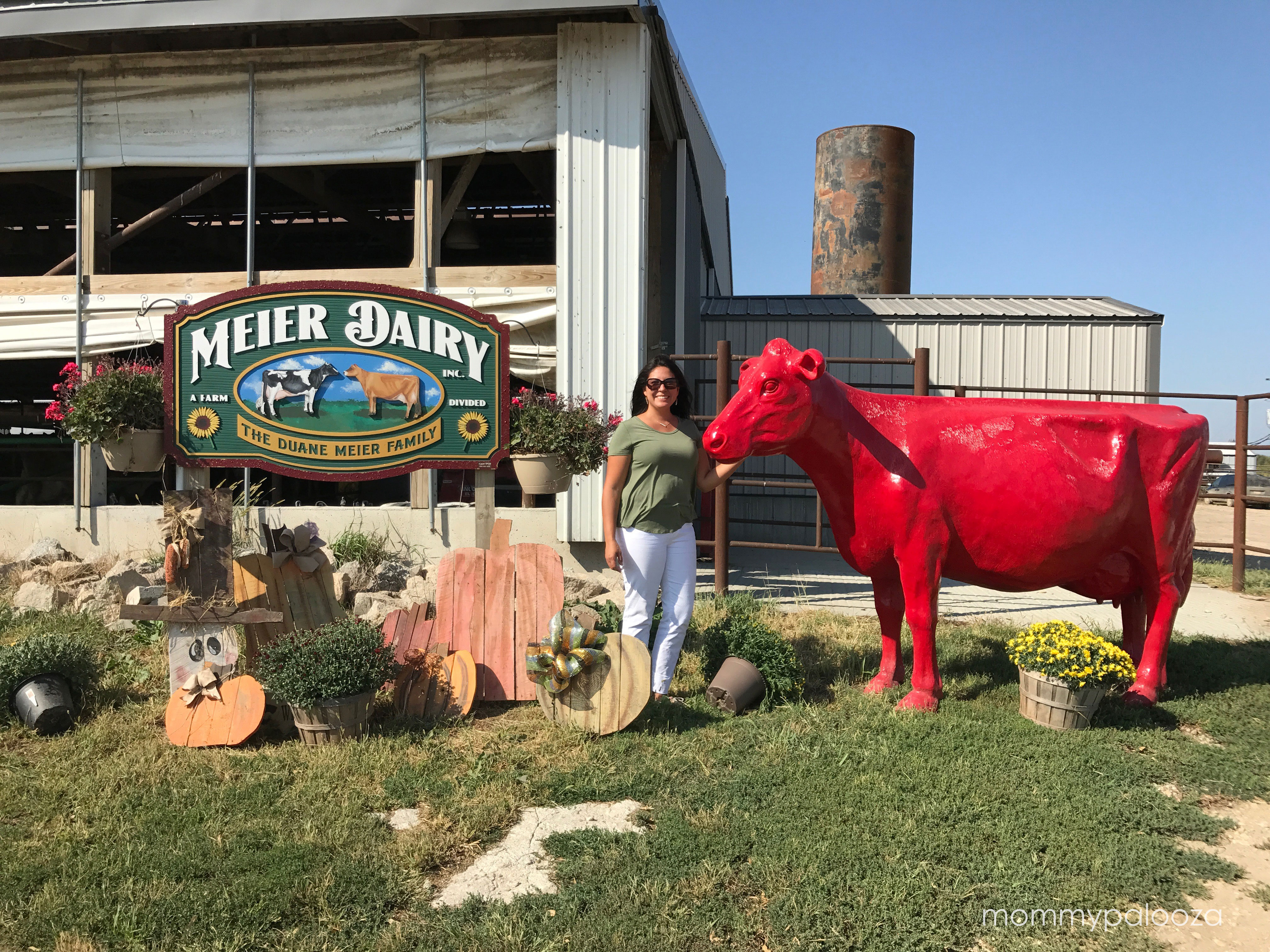 Meier Dairy - photo in front of farm with red cow