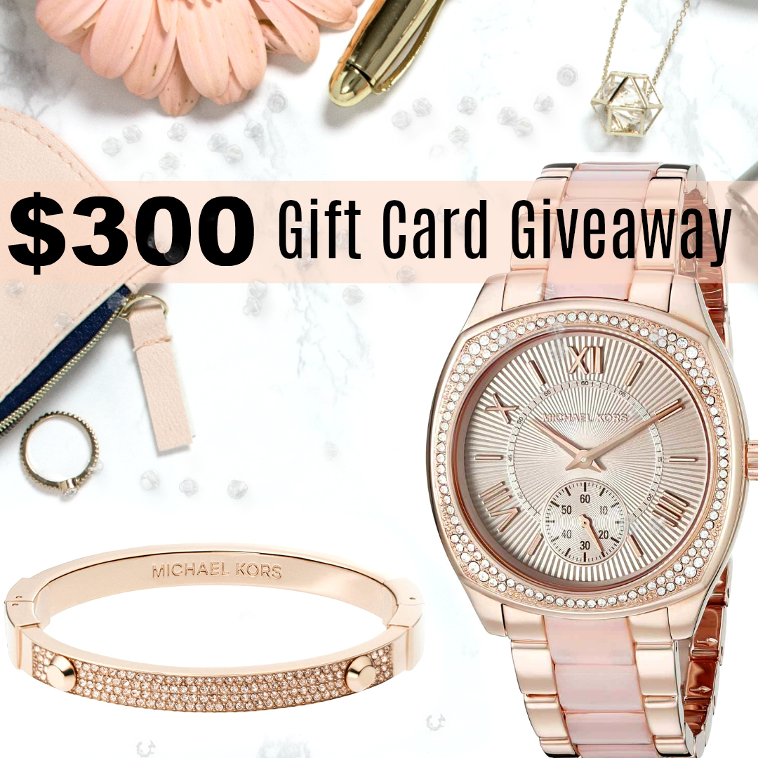 $300 gift card giveaway promo image with jewelry