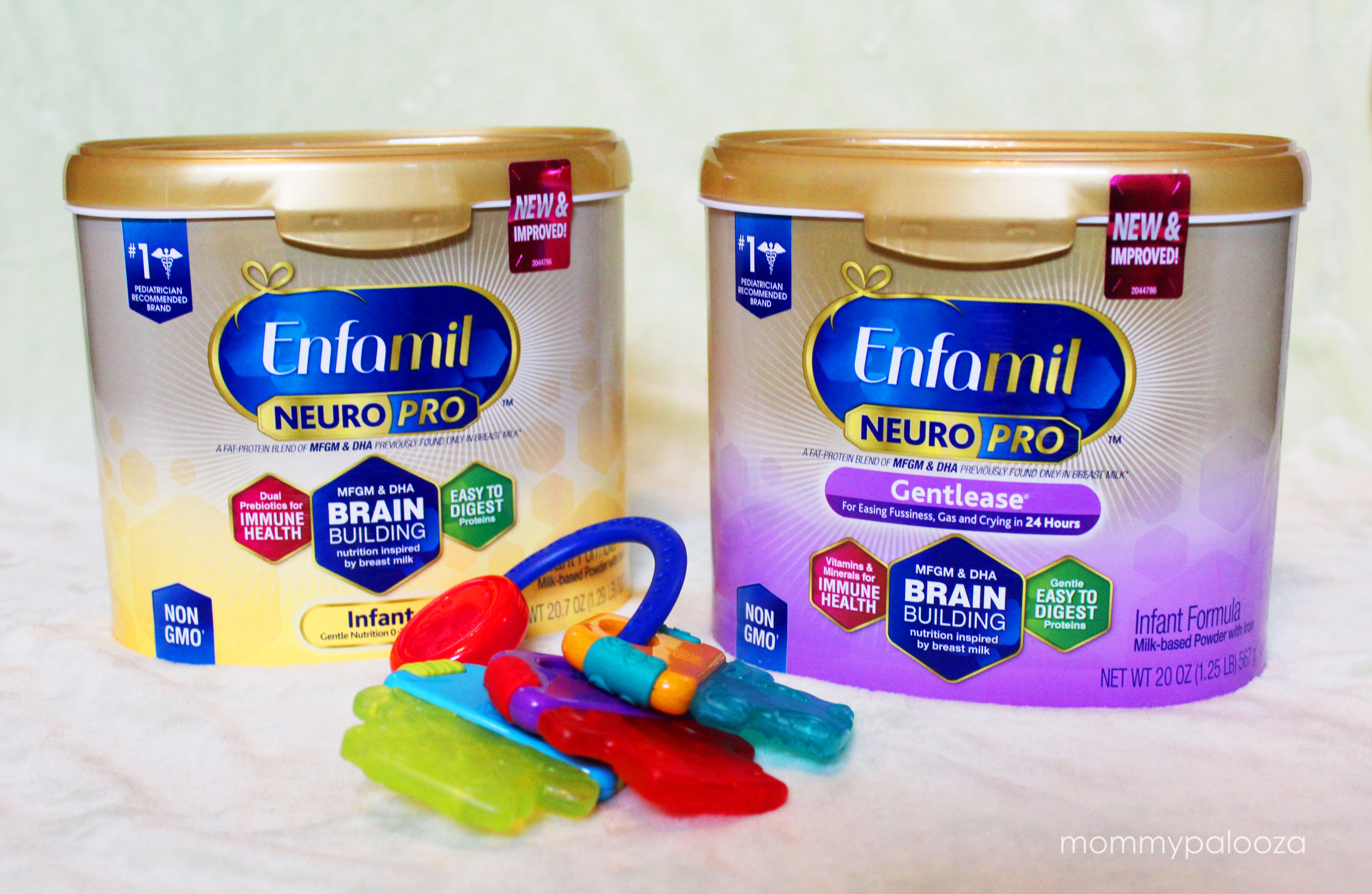 containers of Enfamil NeuroPro next to baby keys