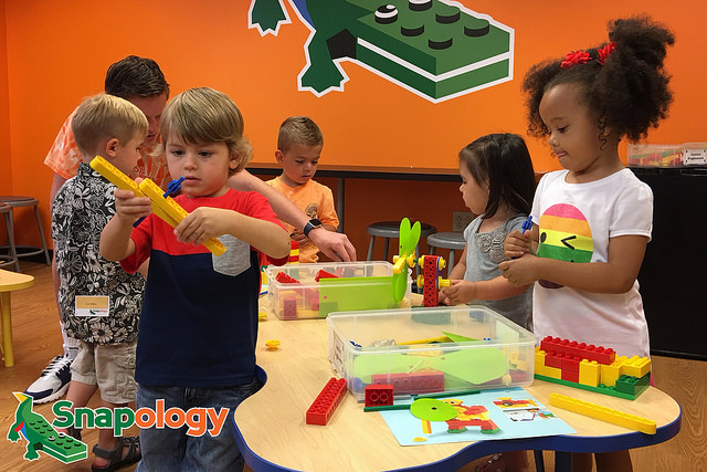 STEM learning and summer fun - kids building with blocks